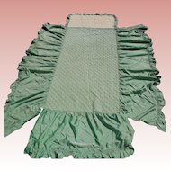 1930's Pair of Taffeta Twin Bedspreads with Ruffle and Quilted Top