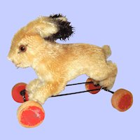 1950's Steiff Bunny on Wheels