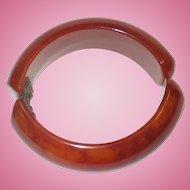 Vintage Deep Red Clamper Hinged Bakelite Bracelet