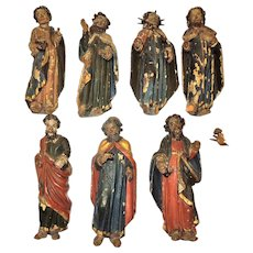 18th Century Carved Wood Apostles Seven Total