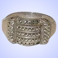 Vintage Art Deco Sterling Silver and Marcasite Ring Size 7