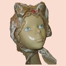 French Lace and Satin Victorian Sleep Cap or Bonnet