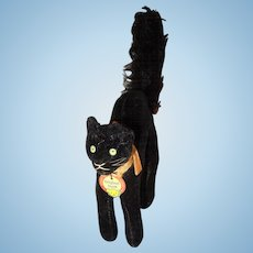 Vintage 10cm Steiff Velveteen Black Arched Tom Cat