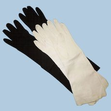 2 Pairs Opera Length Kid Leather Gloves Size 6 1/2