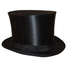 Antique Black Silk Collapsible Top Hat