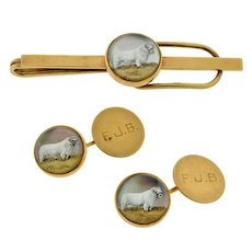 Late Victorian Carved Crystal Essex Cow Cufflink Set