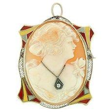 Art Deco 14kt Cameo w/ Enamel & Diamond Pin/Pendant