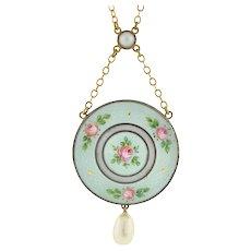 Edwardian 18kt & Silver Guilloché Enamel & Pearl Locket Necklace