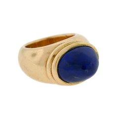 Estate Huge 14t Gold Cabochon Lapis Ring