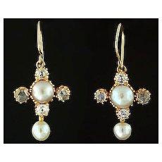 Victorian 14kt Rose & Mine Cut Diamond & Pearl Earrings
