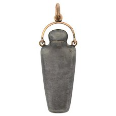 Victorian Gunmetal Perfume Bottle/Flask Pendant