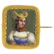 Victorian 14kt Hand Painted Porcelain Portait Pin
