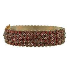 Victorian Gold Plated Bohemian Garnet Wide Bracelet