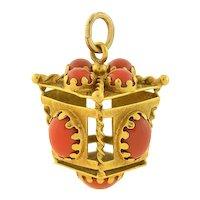 Vintage 18kt Gold Coral Lantern Pendant