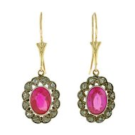 Late Art Deco 14kt/Silver Diamond & Synthetic Ruby Earrings