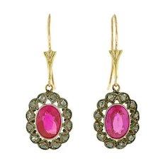 Late Art Deco 14kt/Silver Diamond & Synthetic Ruby Earrings