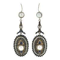 Arts & Crafts Hungarian Sterling Gilt Faux Sapphire & Pearl Earrings