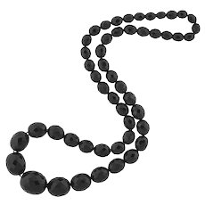 """Victorian Large Faceted Jet Bead Necklace 30"""""""