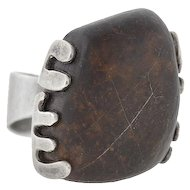 PEDER MUSSE Vintage Huge Sterling & Petrified Wood Ring