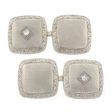 Art Deco 14kt White Gold & Diamond Cufflinks