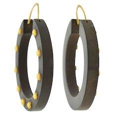 Victorian 14kt Gutta Percha Hoop Earrings