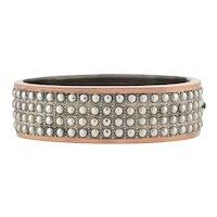 Victorian Mixed Metals Raised Beadwork Bangle Bracelet