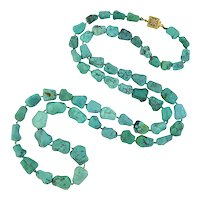 """Vintage Chinese Turquoise """"Nugget"""" Bead Necklace"""