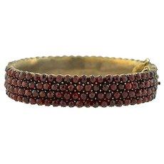 Victorian Silver Gilt Wide Bohemian Garnet Bangle Bracelet