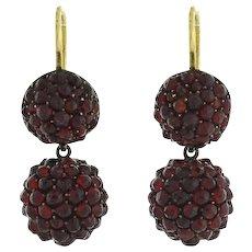 Victorian Gold-Filled Bohemian Garnet Ball Earrings