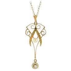 Art Nouveau 10kt Pearl Diamond Enameled Lavalier Pendant Necklace