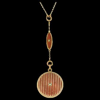 Art Deco Gold-Filled Red Enamel & Pearl Locket Necklace