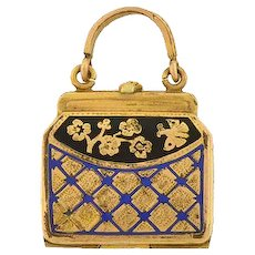 Victorian Gold-Filled Enameled Purse Locket/Charm