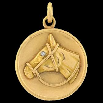 Late Victorian 14kt Gold Equestrian Horse Head Locket