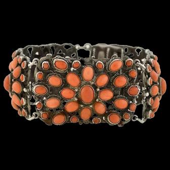 Arts & Crafts Era Sterling & Natural Coral Bracelet