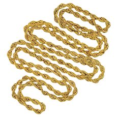 """Victorian Gold-Filled Twisted Rope Chain Necklace 60"""""""