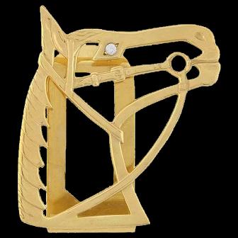 LARTER & SONS Art Deco 14kt Gold Diamond Money Clip