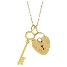 Late Victorian 14kt Gold Key & Padlock Heart Charm
