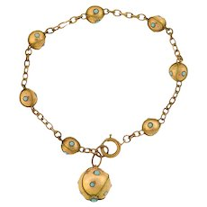Victorian Gold-Filled & Faux Turquoise Ball Link Bracelet
