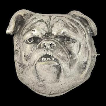 Late Victorian Large Silver Plated British Bulldog Head Pin