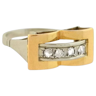 Edwardian French 18kt Two-Tone Diamond Ring