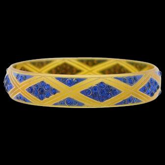 Art Deco Carved Celluloid Blue Rhinestone Bangle