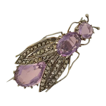 Late Victorian French Sterling Silver Amethyst Pearl Bug Pin