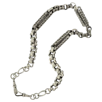 Victorian Sterling Silver Chunky Watch Chain Necklace