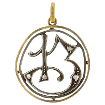 Edwardian 10kt/Silver Rose Cut Diamond Number '13' Pendant