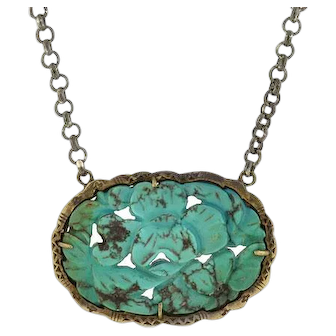 Late Art Deco Chinese Sterling Carved Turquoise Necklace