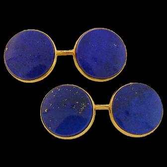 Art Nouveau 14kt Double Sided Lapis Lazuli Cufflinks