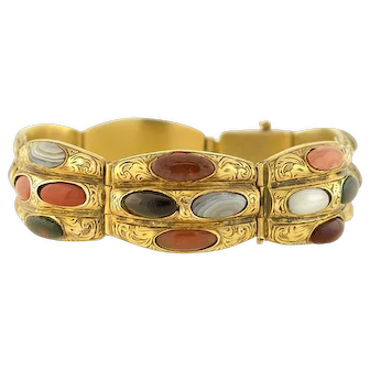 Victorian Silver Gilt Scottish Agate Link Bracelet