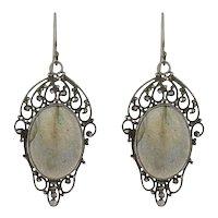 Late Art Deco Sterling Silver Labradorite Wirework Earrings