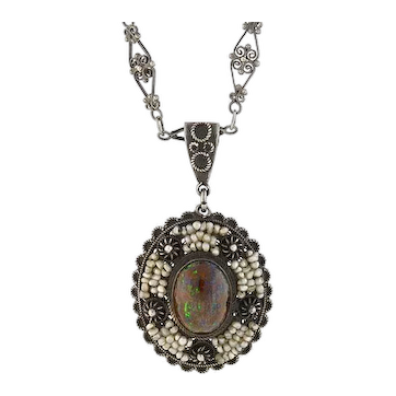 Late Art Deco Sterling Boulder Opal + Seed Pearl Filigree Necklace