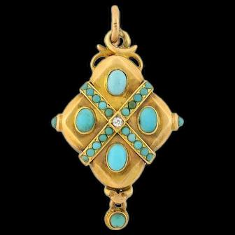 Victorian 14kt Turquoise + Diamond Locket/Pendant